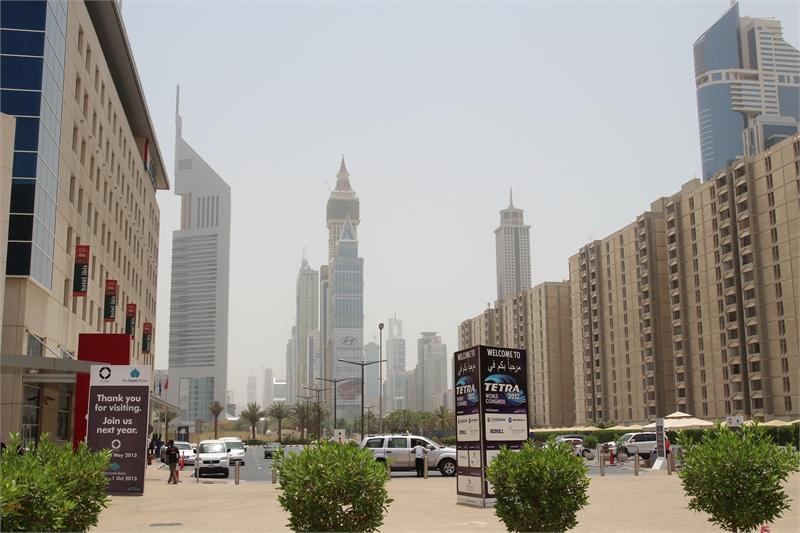 Widok na Dubaj z Centrum Kongresowego World Trade Center w Dubaju