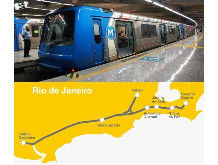 Pociąg metra w Rio i schemat 4 linii